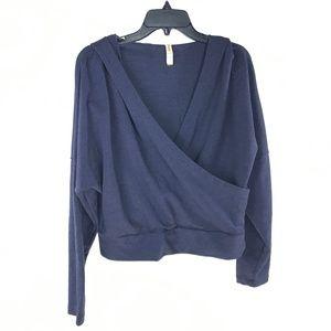 Lucy Navy Blue Activewear Wrap Sweatshirt Hoodie